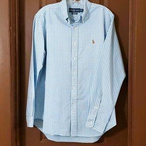 Ralph Lauren classic fit blue checked shirt size l